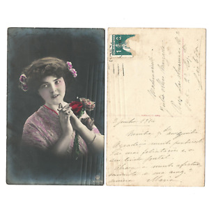 Antique Vintage Postcard colored Victorian Lady with flowrs 1914 -e