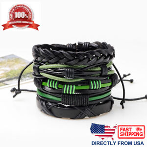 5 Pcs Set Green Black Braided Leather Unisex Men Women Cuff Wristband Bracelet