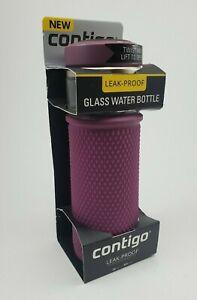 Contigo 20 oz. Quick Twist and Lift Open Lid Glass Water Bottle Leak Proof NEW