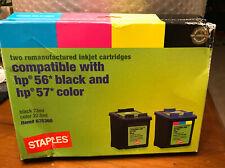 Staples HP 56/57 Black & Color Is Remanufactured Standard Ink Cartridges 2/PK