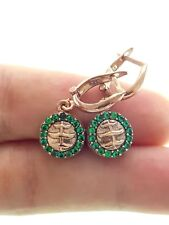 TURKISH HANDMADE JEWELRY Rose 925 Sterling Silver Tourmaline Earrings E1669