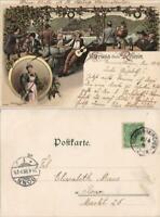 Ansichtskarte Litho AK Kaub Gruss aus Restaurant feiernde MB 1898