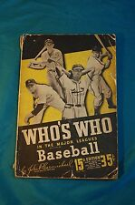 Who's Who in the Major Leagues Baseball 15th edition 1947 Callahan
