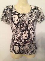 ladies fashion print top/t-shirt, black designer style, NEW, S/M/L 8/10/12/14