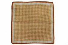 Battisti Pocket Square Strong orange geometric pattern with beige, pure wool