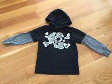 Gymboree Boy's Skeleton Skull Black Hooded Sweater - Size 5