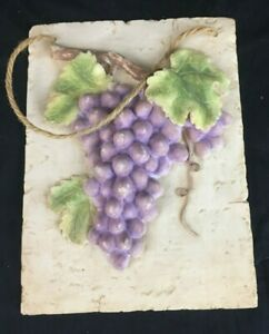 """Vintage 8"""" Ceramic Grapes on Branch Rope Wall Hanging Plaque"""