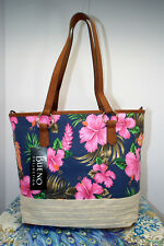 Navy Canvas Tote w/Pink Hibiscus Floral by Bueno Sz Medium  NWT