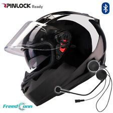 Gloss Black Full Face Motorcycle Helmets Double Visor Dot + Bluetooth Headset