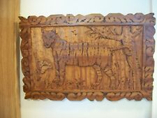 Vintage Signed Dated 1985 Relief Wood Wooden Carving Wall Art Picture Plaque