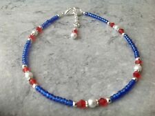 "Red Swarovski Elements Crystal Blue Seed Bead Glass Pearl Anklet 10"" + Ext"