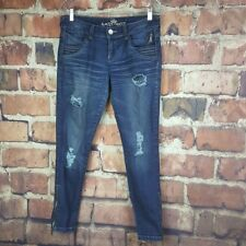 Almost Famous Womens Skinny Jeans Size 9 Juniors Destroyed Distressed Zippers