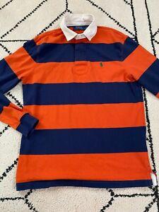 Polo Ralph Lauren Rugby Men's Long Sleeve Orange Blue Stripe Size Medium M