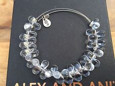 RARE ALEX and ANI CRYSTAL Clear JUPITER Russian SILVER BEADED Bangle BRACELET 💎