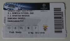 Ticket for collectors CL Benfica Lisboa Spartak Moscow 2012 Portugal Russia