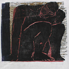 Ruth Tesmar: Nachdenklich. Probedruck für Paul Celan. Farbholzschnitt 1988
