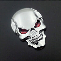 3D Metal Skull Bone Auto Emblem Badge Decal Sticker Motorcycle Car Decor Silver