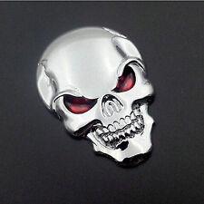 3D Metal Skull Bone Auto Emblem Badge Decal Sticker Motorcycle Car Decor Silver