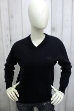 FRED PERRY Donna Taglia M Maglione Blu Lana Sweater Pullover Maglietta Pull