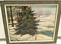 Rico Tomaso Large WPA Era Winter Landscape Painting New York Artist Illustrator!