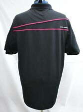 RARE Under Armour Heatgear Loose Black Performance Polo Shirt Pink Trim Men's XL