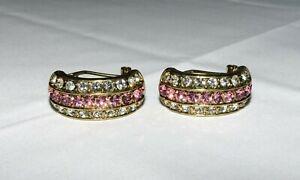 Heidi Daus Chain Of Events Clear/Pink Crystal Hoop Pierced Earrings NEW