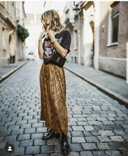 Zara Pleated Snakeskin Brown Camel Faux Suede Maxi Long Skirt UK S 8 Bloggers