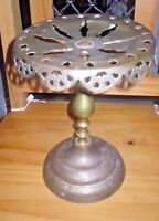 ANTIQUE DECORATIVE PIERCED BRASS FIRESIDE TRIVET KETTLE PAN STAND   Pat no 26717