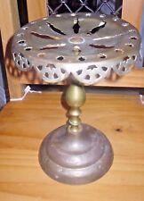 ANTIQUE DECORATIVE PIERCED BRASS FIRESIDE TRIVET KETTLE PAN STAND   Pat no 26717