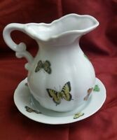 VINTAGE PAPILLON JAPAN PITCHER AND DISH BUTTERFLY FINE PORCELAIN CHINA
