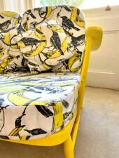 Ercol two seater sofa, upholstery print Birds & Bananas, modern design