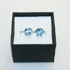 Round Blue Topaz 3.20 Carats Stud Earrings Solid 14k White Gold Gift Box