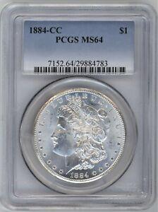 1884-CC PCGS MS-64 Morgan Silver Dollar ~ BLAST WHITE THROUGHOUT ~ 1c START