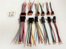 12 Awg Black Assembled Deutsch 2346812 Pin Waterproof Connector 6 Wire