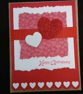 Handmade homemade Sweetheart Romance Happy Anniversary Love Spouse greeting card
