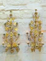 Large Antique FRENCH Pair Gilded Brass Wall Light Sconce Candlestick 19TH Church
