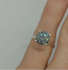 4 Prong 1.69 Ct Gray Forever Moissanite Engagement Ring 925 Sterling Silver