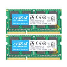 16GB Crucial 2X 8GB PC3-12800 DDR3 1600 Memory SODIMM RAM Laptop F mac mini 2012