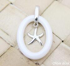 PLATA DE LEY 925 rodio HAWÁI Estrella mar cerámica blanca colgante oval