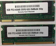 4GB 2x 2GB PC2-4200 Laptop Memory RAM DDR2 533 SODIMM Acer Dell Lenovo HP