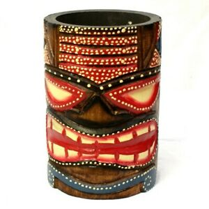Tiki Bar Decoration Pot Hand Carved Painted Bar Storage Decor Accessories