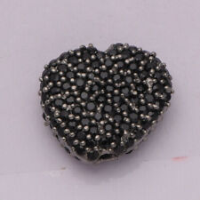 Heart Design 925 Sterling Silver Black Spinel Finding Chain