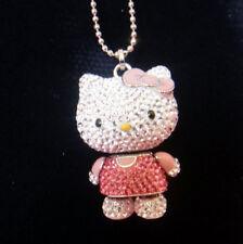 2011 Swarovski Hello Kitty Pink 3D Pendant Necklace Movable Arms