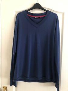 Rohan Ladies Blue Superfine Merino Union V Neck Top UK Size 18