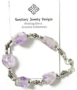 Sterling Silver Faceted Natural AMETHYST Gemstone Bead Bracelet...Handmade USA