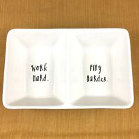 Rae Dunn Work Hard Play Harder Divided Multi Purpose Dish Co Worker Gift