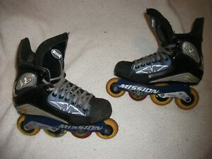 MISSION RL ROLLER BLADES INLINE HOCKEY SKATES ADULT SIZE 8 D NICE CONDITION