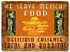 MEXICAN food restaurant METAL sign tacos burritos VINTAGE style wall decor 173