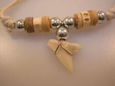 Mako Shark tooth pendant cream & white beads cord necklace surf beach ocean wear