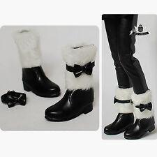 1/4 BJD Shoes MSD Dollfie DREAM Black wool Bow Boots Luts AOD DOD MID EID SOOM